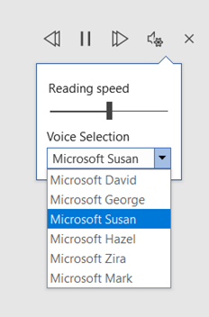 Options in the read aloud tool -reading speed and voice type.