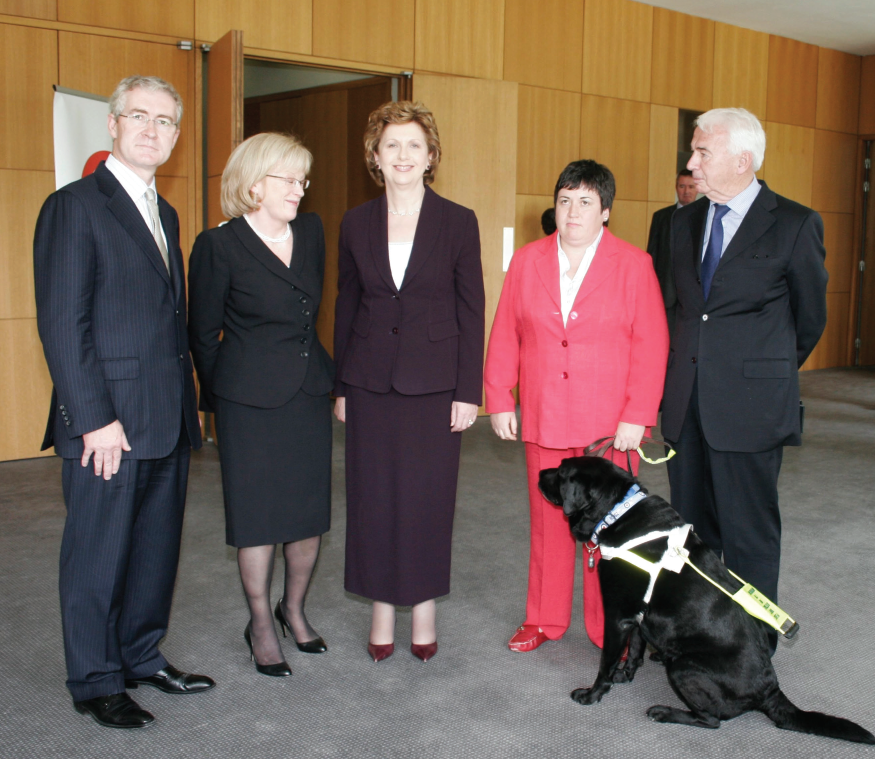 Picture of AHEAD staff with President Mary McAleese at the Inaugural Get AHEAD Lecture