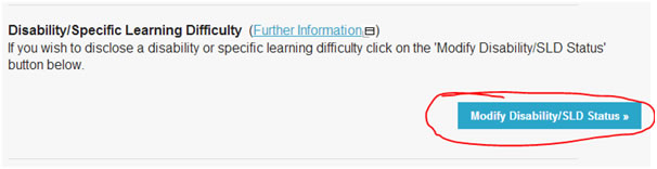 Click Yes to the question reading 'Disability/Specific Learning Difficulty?'