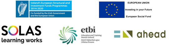 Logos - European Structural and Investment Funds Programmes, EU, SOLAS, ETBI and AHEAD