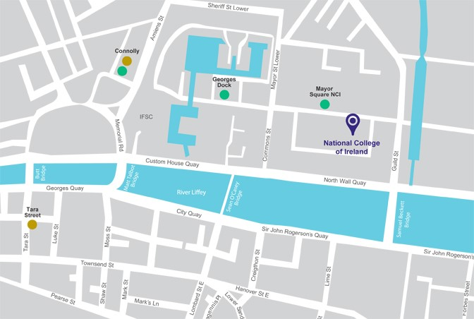 Map showing National College of Ireland