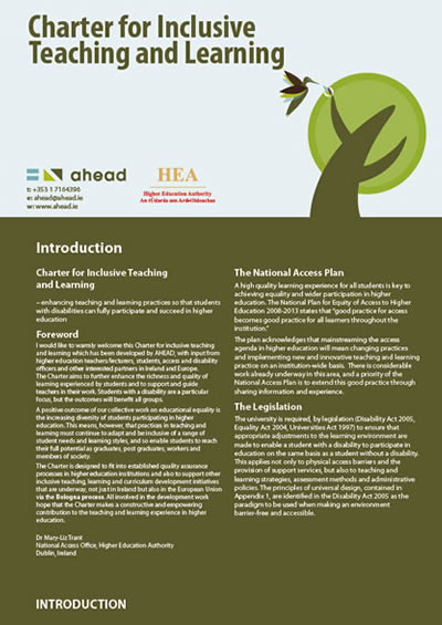 Charter for Inclusive Teaching & Learning (PDF)